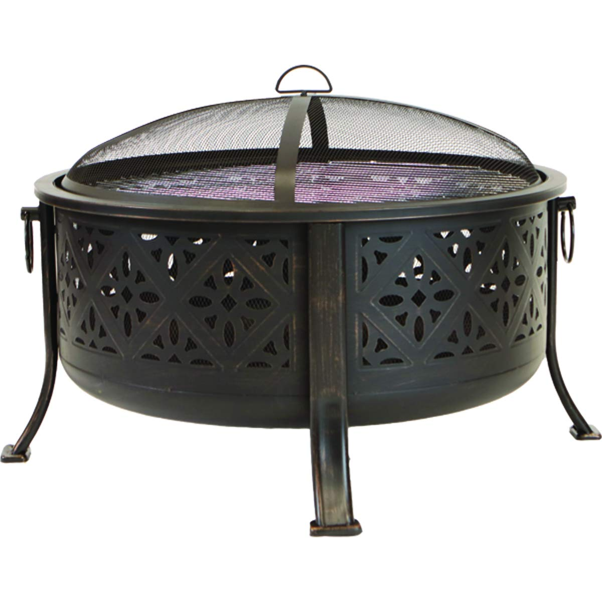ISO Fire Pit – 34 Round Bowl and BBQ, Includes Grate, Mesh Cover, Poker