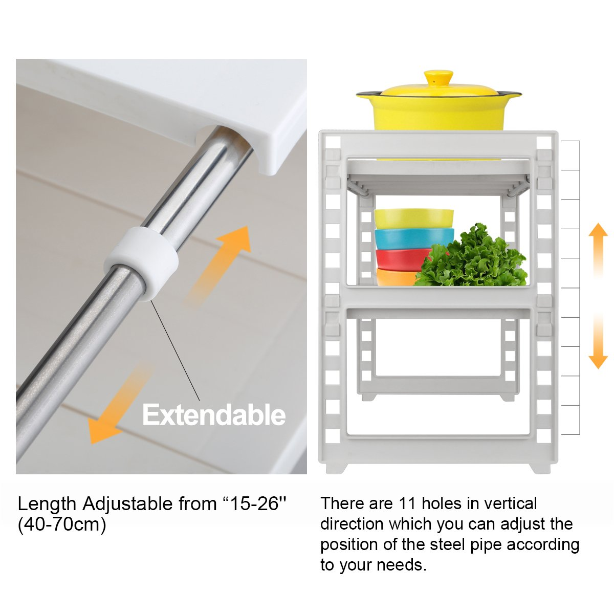 Obor Expandable Under Sink Organizer 2 Tier Millet Flagship Intelligent Household Water Purifiers Multifunctional Storage Rack With Removable Shelves And Steel Pipes For Kitchen Bathroom