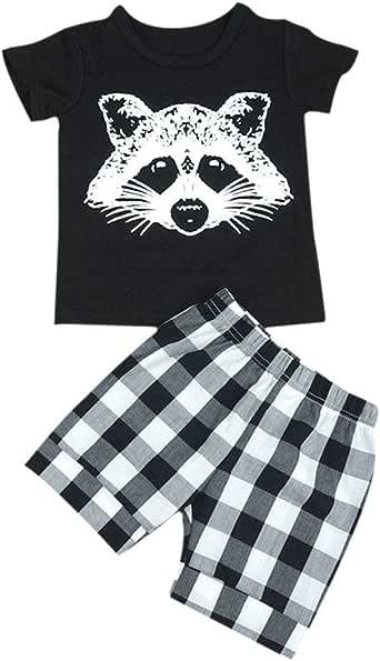 Weixinbuy Girls' Little Fox T-shirt Tops + Plaid Stripe Shorts Pants Outfits Set