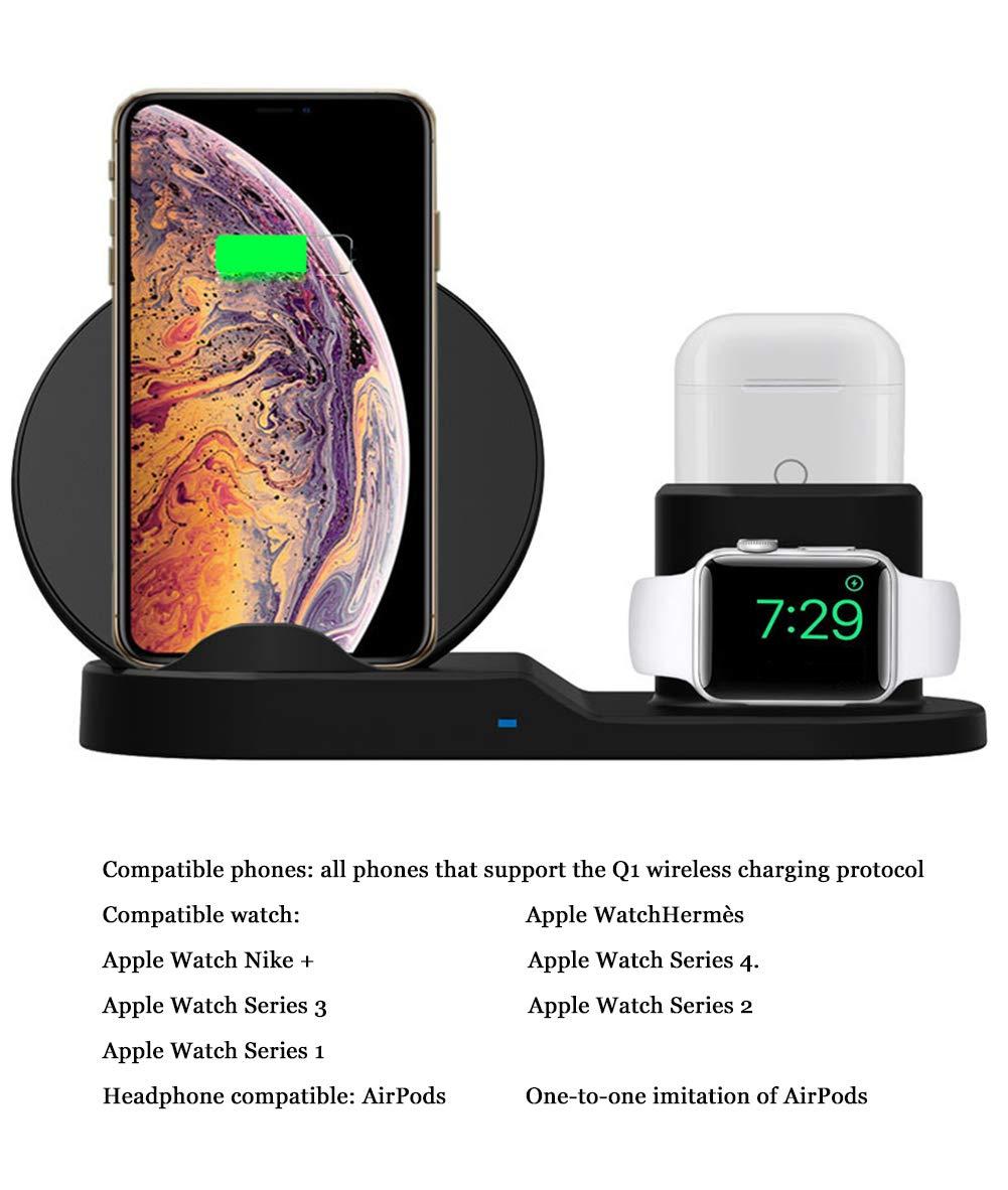 SLONG Teléfono Móvil Reloj Auricular Tres-En-Uno Cargador Inalámbrico Rápido Multi-Función De Carga Inalámbrica Base De Soporte: Amazon.es: Hogar