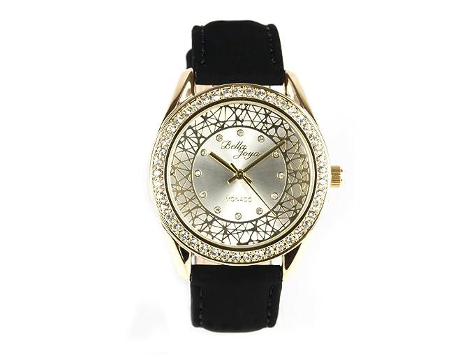 """Bella joya Mujer Reloj """"Monaco, Goldenes Carcasa con brillantes, correa de"""