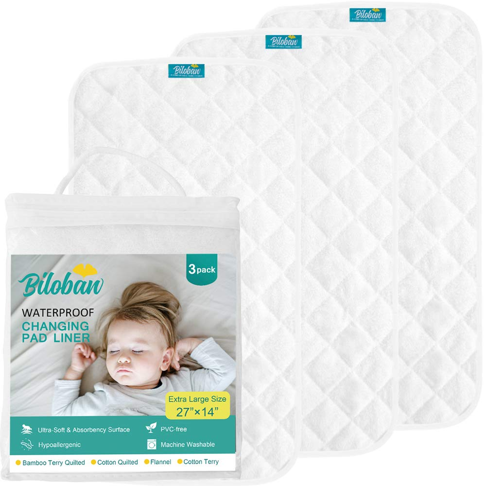Biloban Bamboo Changing Pad Liners (3 Pack Large) - Ultra Soft Plush Organic Surface, Hypoallergenic and Antibacterial, Washable & Waterproof Star