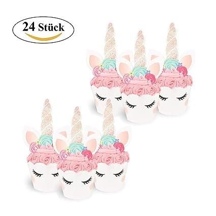 Icheap Einhorn Cake Topper 24 Stucke Einhorn Cupcake Wrappers