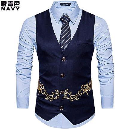 Mieuid Hombres Chaleco para Otoño El Bordado Traje Chaleco Chic Smoking Chaleco Slim Fit Moda Moda para Hombres (Color : Navy Blue, Size : M): Amazon.es: Ropa y accesorios