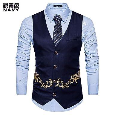HX fashion Chaleco para Hombre Otoño El Bordado Hombres ...