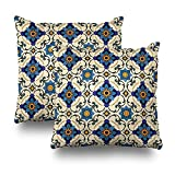 Soopat Decorativepillows Covers 18''x18'' set of 2, Two Sides Printed Ethnic Ornament Arabesque Islamic Art Throw Pillow Cases Home Decor Indoor/Outdoor Nice Gift Kitchen Garden Sofa Bedroom