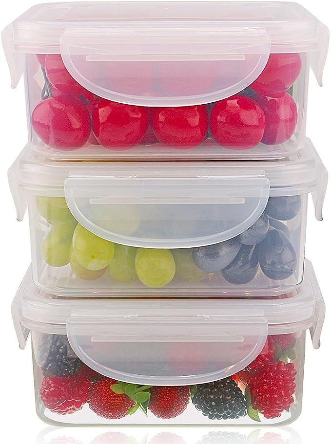 Compra SELEWARE Set de 3 Plastico Apilable Hermetico Contenedor ...