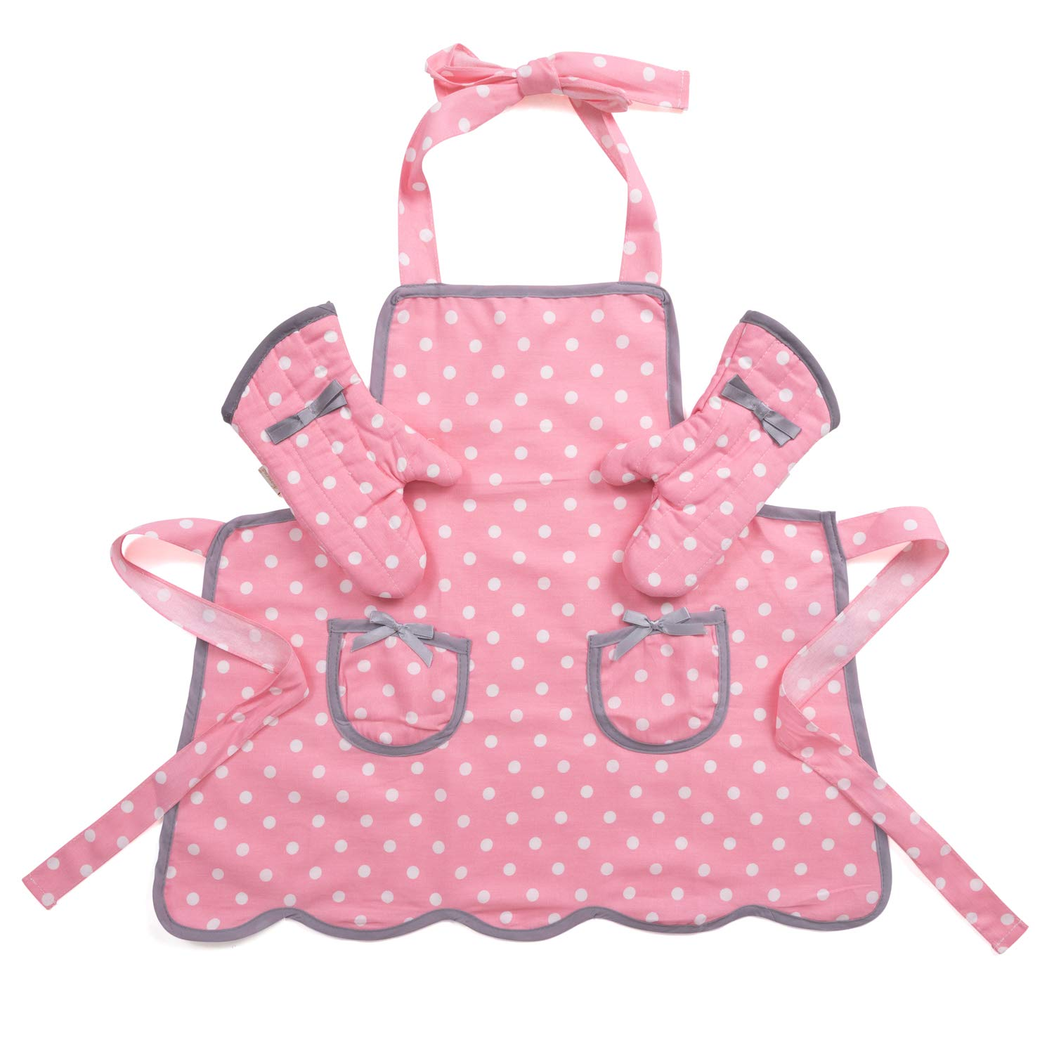 NEOVIVA Kids Apron and Kids Oven Mitts Set for Play Kitchen, Cute Polka Dots Toddler Kitchen Linen Set
