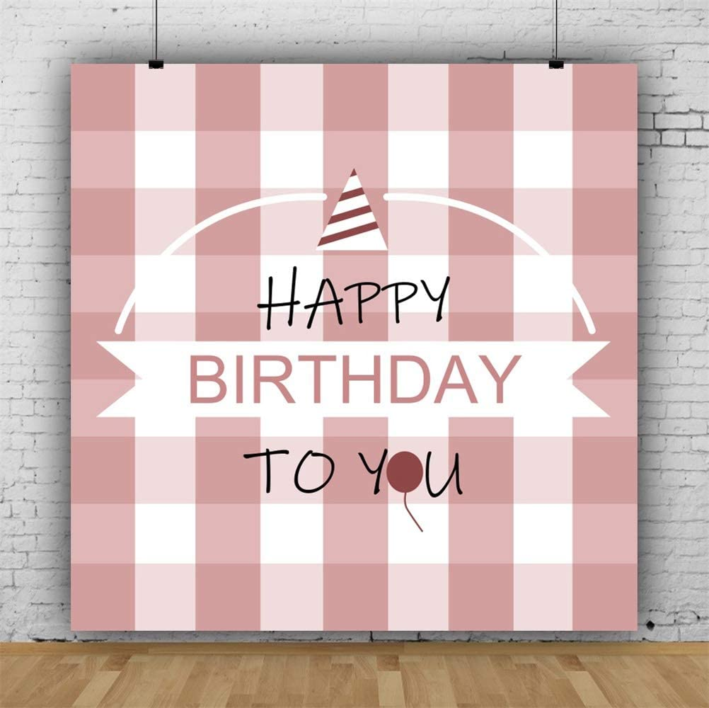 7x7ft Happy Birthday Polyester Photography Background Cartoon Naked Pink Checked Backdrop Child Kids Baby Girl Birthday Party Banner Cake Smash Childish Wallpaper Photo Props
