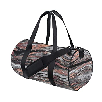 58734e0fc1835 Amazon.com | Russe Gym Bag Rose Gold Abstract Marble with Shoes ...