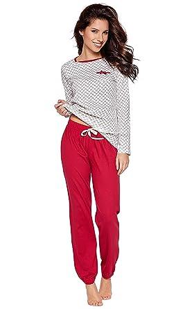 f087b68b030dfa Moonline süßer und bequemer Damen Schlafanzug aus 100% weicher Baumwolle,  mit Herzchen-Muster