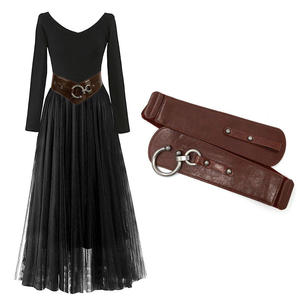 Cintur/ón de cuero de las muchachas de las mujeres Dise/ño redondo del gancho de la manera Cintur/ón de cintura ancho Chic el/ástico Vendaje de cintura de la cintura