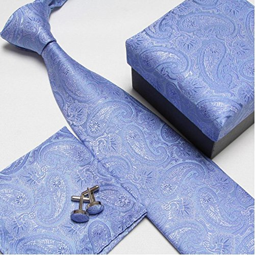 Men's Fashion High Quality Neck Tie Set Neckties Cufflinks Hankies Silk Ties Cuff Links Pocket Handkerchief