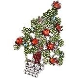 Grünen Emaille Kristall Rhinestone Weihnachtsbaum Brosche Geschenk