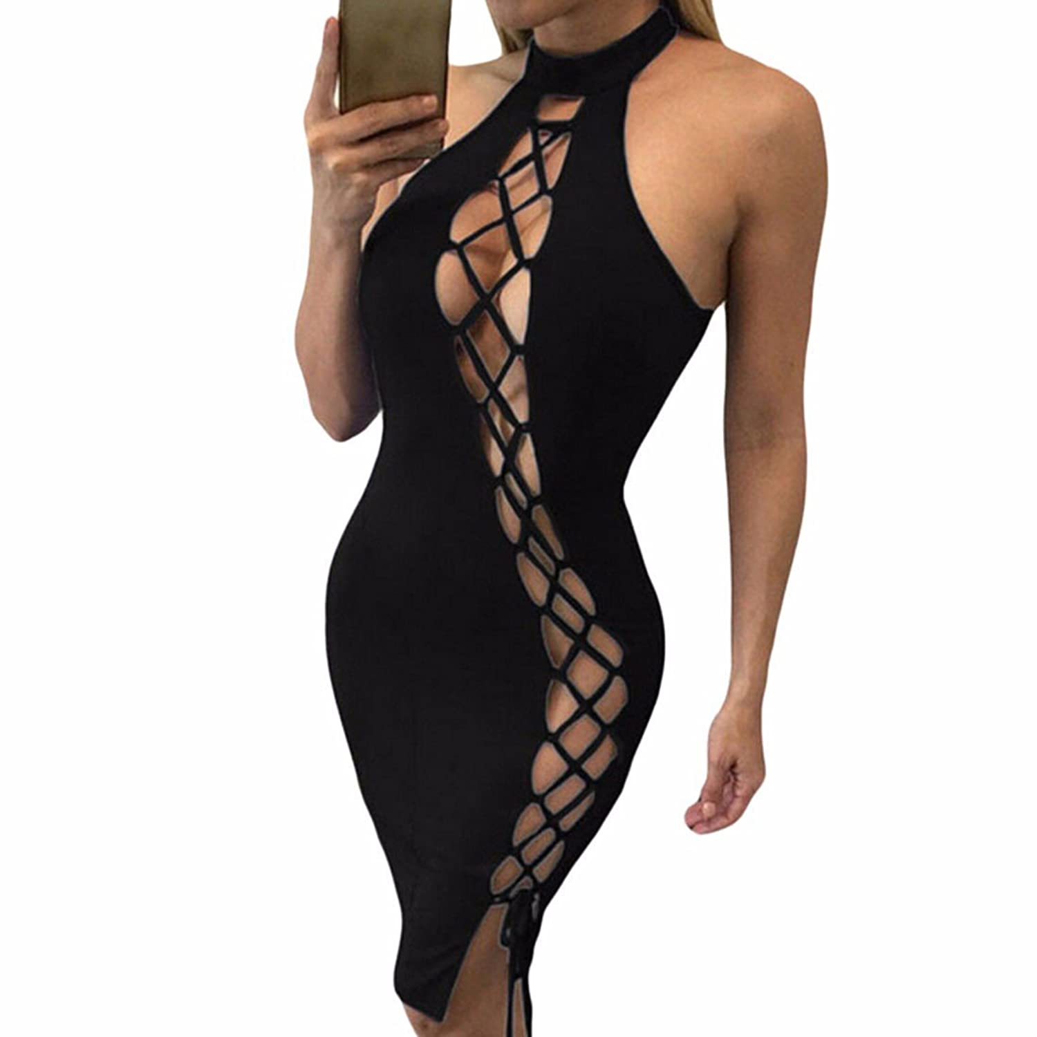Womens Sexy Lace-Up Hollow Out Cocktail Night Out Backless Bodycon Wiggle Dress