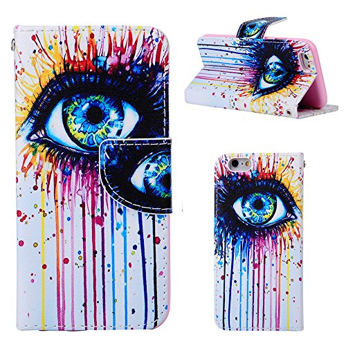 iPhone 6S Plus cases - Wild Wolf Eyes Design with Art Series Slim Style Magnetic Flap Closure Stand Card Holder Wallet Folio Flip Cover Cases for iPhone 6 5.5 Inch