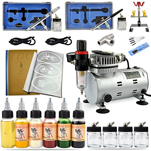 Master Airbrush Tattoo System 2 Airbrushes, Air Compressor, Deluxe Book of 100 Stencils 2 Hose Airbrush Holder 3 Quick Couplers 4 Temporary Tattoo Ink in 1oz Bottles