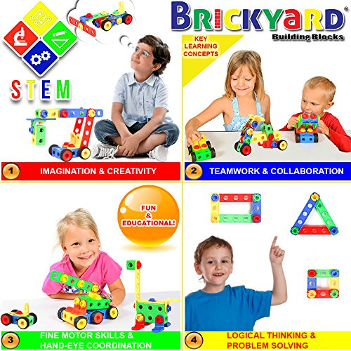163 Piece STEM Toys Kit | Educational Construction Engineering Building Blocks Learning Set for Ages 3 4 5 6 7 8 9 10 Year Old Boys & Girls by Brickyard | Best Kids Toy | Creative Games & Fun Activity