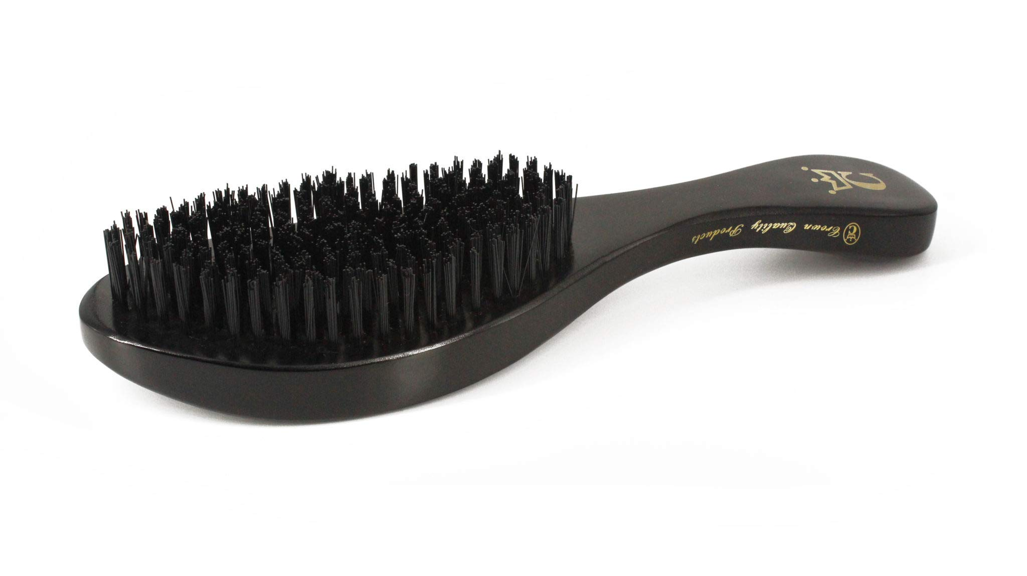 Crown Quality 360 Gold Wave Brush Hard - Black W/Handle by Crown Quality Products