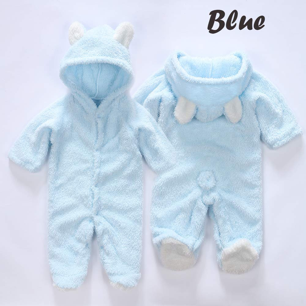 Blivener Baby Winter Hooded Romper Infant Cute Bear Fleece Jumpsuit Pajamas