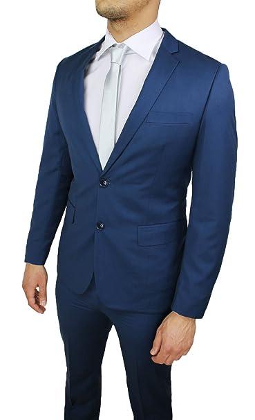 Abito completo sartoriale uomo blu slim fit elegante vestito smoking  cerimonia  Amazon.it  Abbigliamento 08a6081cedef