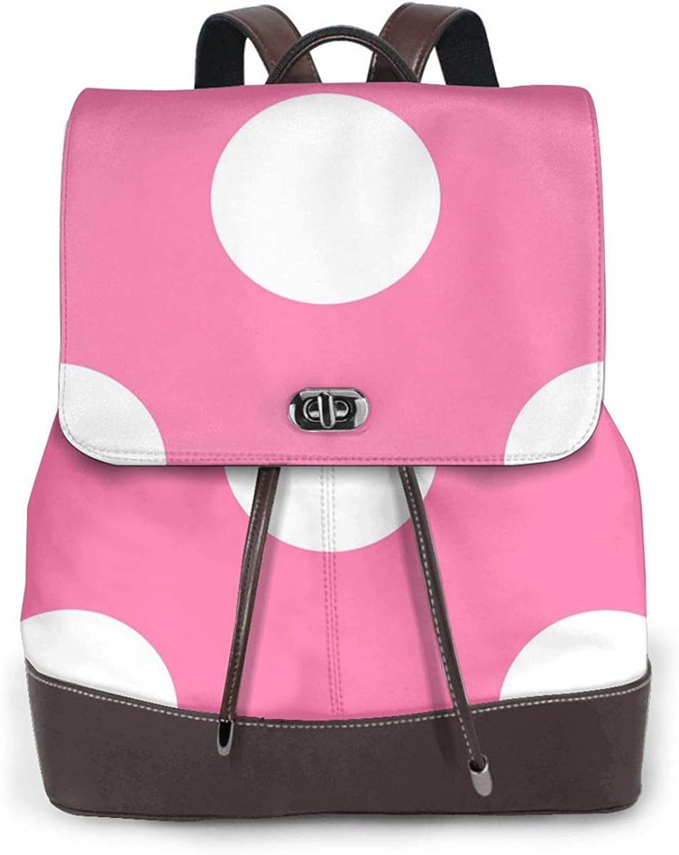 Cute College Personalized Trendy Brown Bookbag For Students Lightweight Business Travel Pink Polka Dot Bag For Girls School Laptop Backpack For Women