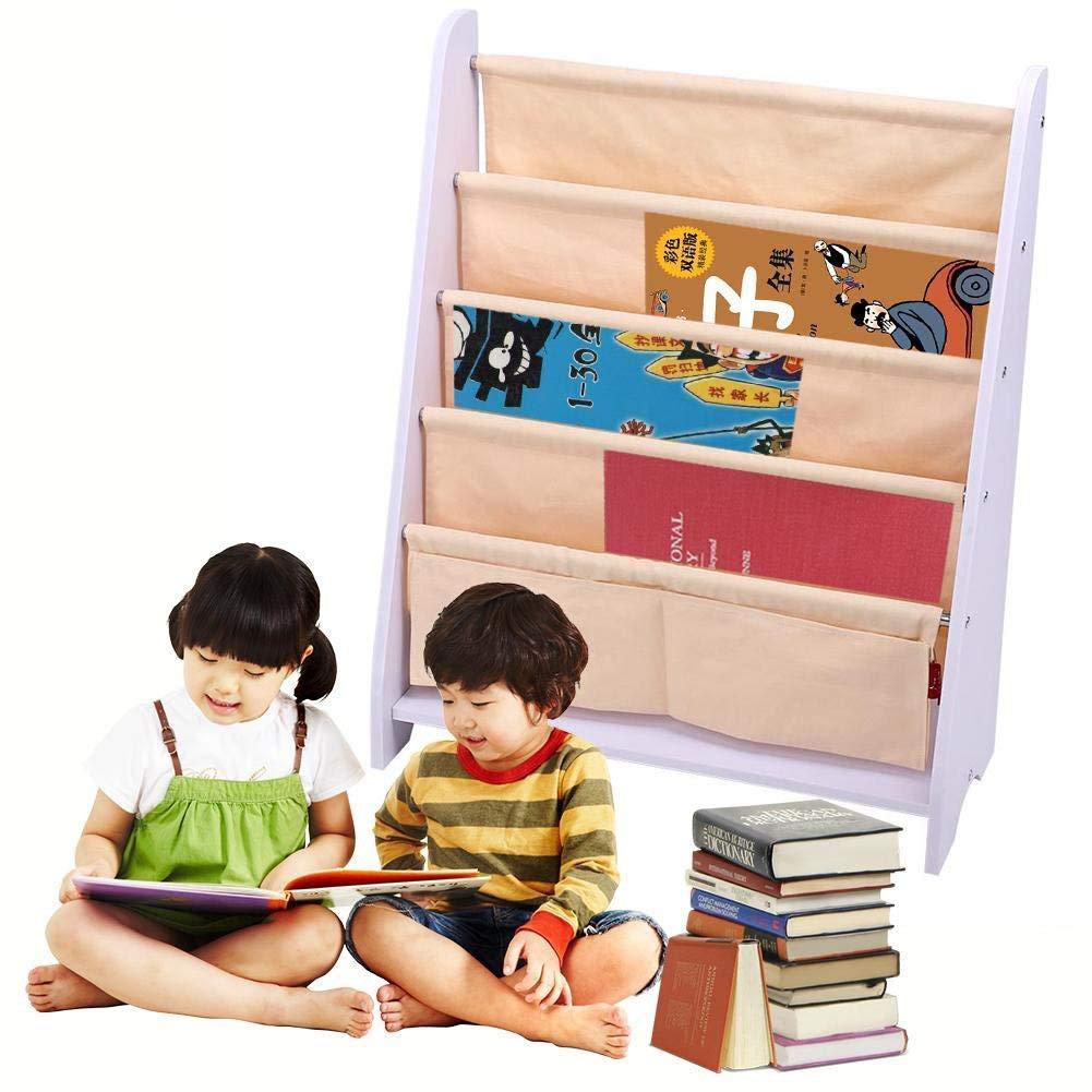 Color: Crema Librer/ía Infantil de Tela y Madera con estantes Colgantes Revistero Estante 82 /× 34 /× 8 cm Estanter/ía Infantil