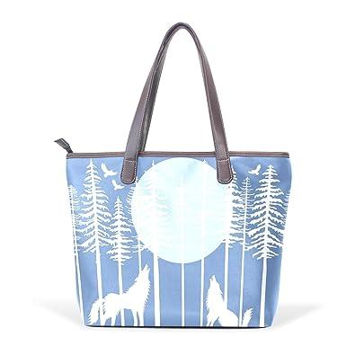 5f8c3ea269cb Sunlome Howling Wolf Fir Tree Forest Pattern Handbags For Women ...