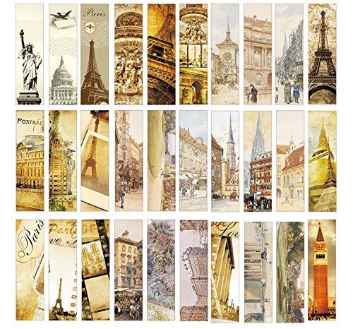 MyTrip Paper Bookmarks Set (30pcs Europe