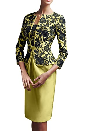 Avril Dress Elegant Mother of Bride With Jacket Wedding Guest Knee Length Dress New-4-Light Yellow