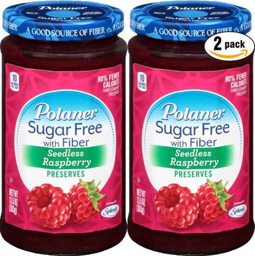 Polaner Seedless Raspberry, Sugar Free With Fiber, Preserves, 13.5 Oz (Pack of 2, Total of 27 Oz) ()