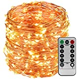 LightsEtc 200 LED String Light 65.6ft Copper Wire Warm White Waterproof Light 8 Modes Remote Control