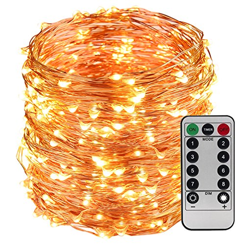 Twinkle Button (LightsEtc 200 LED String Light 65.6ft Copper Wire Warm White Waterproof Light 8 Modes Remote Control)