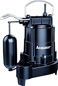 Acquaer Durable Cast Iron Automatic Submersible Sump/Effluent Pump With Integrated Vertical Float Switch, 1/3 HP,10ft. Power Cord