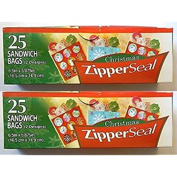 Amazon Com 50ct Christmas Zipper Seal Sandwich Holiday