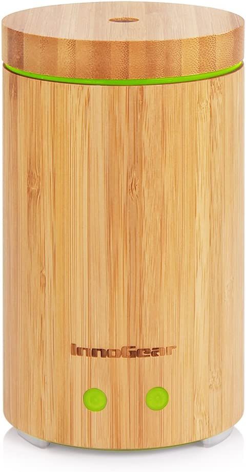 InnoGear 160 mL Difusor de Aceite Esencial de Bambú de Real Difusores Ultrasónicos de la Aromaterapia Apagado Automático sin Agua