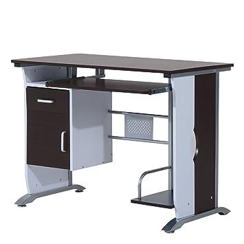 Homcom Bureau Informatique Design 100l X 52l X 75h Cm Brun Noir Et