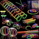 #5: Myamy Glow Sticks Bulk 200 8'' Glowsticks 466Pcs 7 Colours For Kids Connectors Bracelets Necklaces Balls Glasses Butterfly Headbands Rings Spray Glow In The Dark Light Up Toys Party Favors