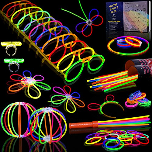 Myamy Glow Sticks Bulk 200 8'' Glowsticks 466Pcs 7 Colours for Kids Connectors Bracelets Necklaces Balls Glasses Butterfly Headbands Rings Spray Glow in The Dark Light Up Toys Party Favors ()