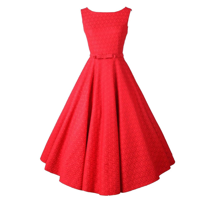 Partiss Damen Frauen 50er Klassisch Elegant Kleider Franzoesisch Stil Schleife Aermellos Knielang Kleid