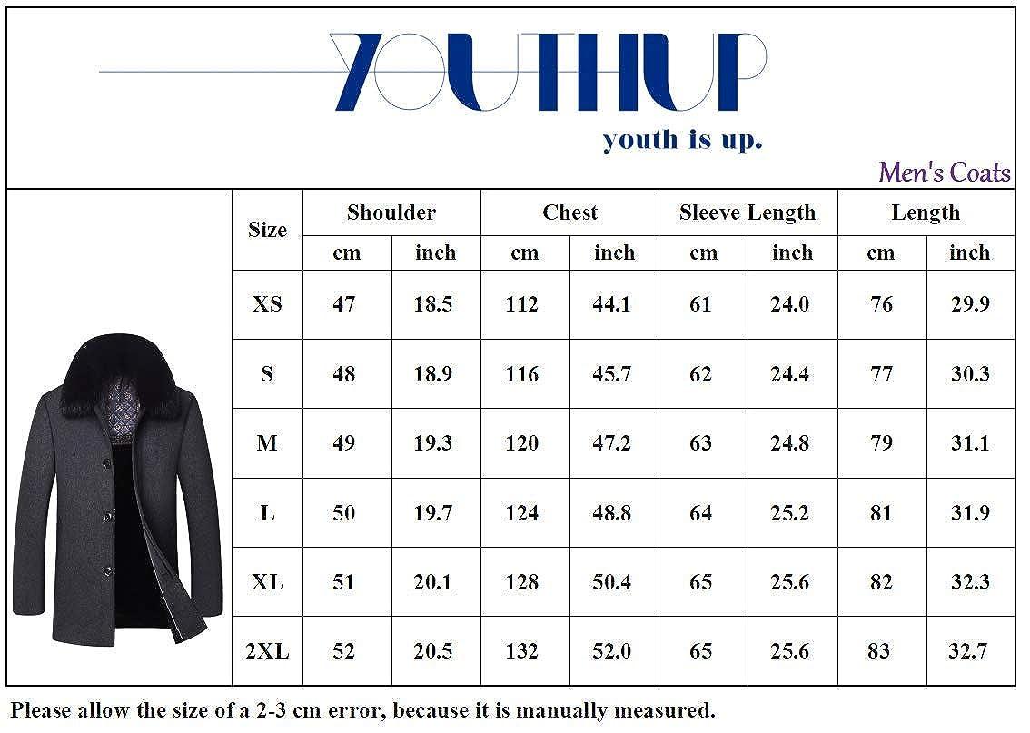 Manteau Homme Laine Hiver Chaud Parka Veste en Fourrure Trench Coat Slim Fit Casual Simple Caban Bleu 1703