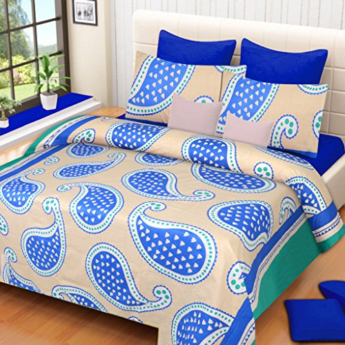 HOME ELITE Paisley Print Cotton Double Bedsheet with 2 Pillow Covers-Multicolor , RG-NCB-308