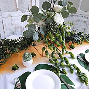 "Supla 2 PCS Artificial Hops Flower Vine Garland Plant Fake Hanging Vine Hops Faux hops Artificial Hanging Plants in Frosted Green Each 29.5"" for Indoor Outdoor Front Porch Flower Decor Floral Greenery 4"