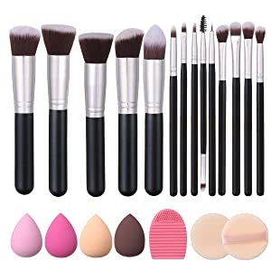 Akstore Makeup Brushes 14 Pcs Makeup Brush Set Travel makeup brush set with 4 Makeup Sponge Blender 2 Makeup Foundation Sponge Air Cushion Powder Puff 1 silicone brush cleaner (Silver)