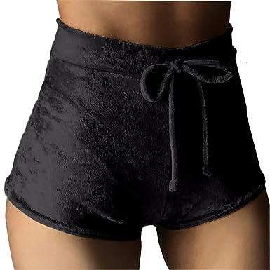a31b9089dcd Moxeay Women Velvet Drawstring Shorts Casual High Waist Bottoms at ...