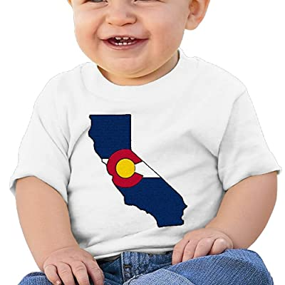 Nurlvns California Colorado Flag Toddler/Infant Short Sleeve Cotton T Shirts White
