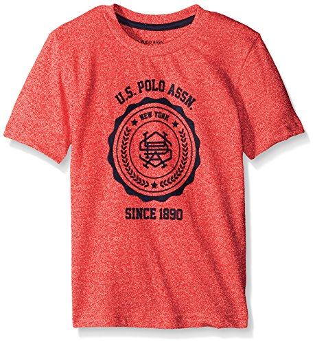 U.S. Polo Assn. Big Boys Short Sleeve Embellished Crew Neck T-shirt, marled red/Red, 14/16