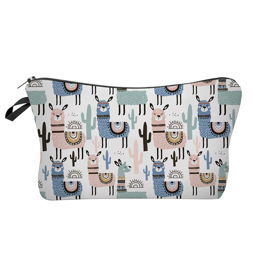 Pausseo Women Letters Alpaca Printing Makeup Cosmetic Brushes Bag Toiletry Storage Travel Handbag Student Pencil Zipper Clutch Case Stationery Box Pouch School Supplies Coins Change Pen Purse Pack (A)
