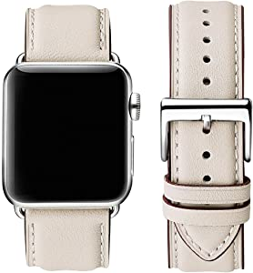 OMIU Square Bands Compatible for Apple Watch 38mm 40mm 42mm 44mm, Genuine Leather Replacement Band Compatible with Apple Watch Series 6/5/4/3/2/1, iWatch SE (Ivory White/Silver Connector, 42mm 44mm)