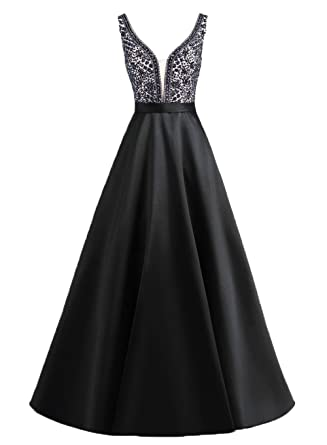 Henglizh Sparkly Deep V-Neck Beaded Backless Long Satin Prom Dress with Pocket Black,